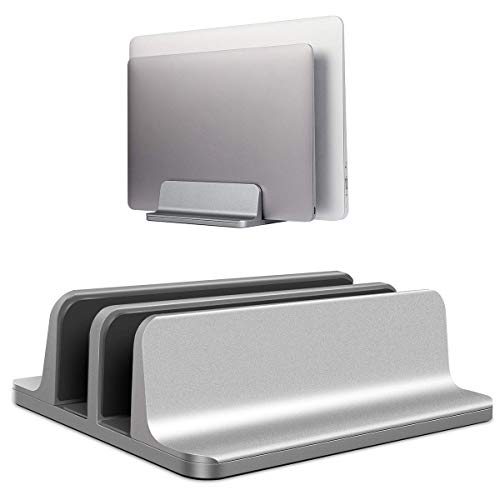 BECROWMEU Vertical Laptop Stand, Double Desktop Stand Holder with Adjustable Dock (Up to 17.3 inch), Fits All MacBook/Surface/Samsung/HP/Dell/Chrome book Grey