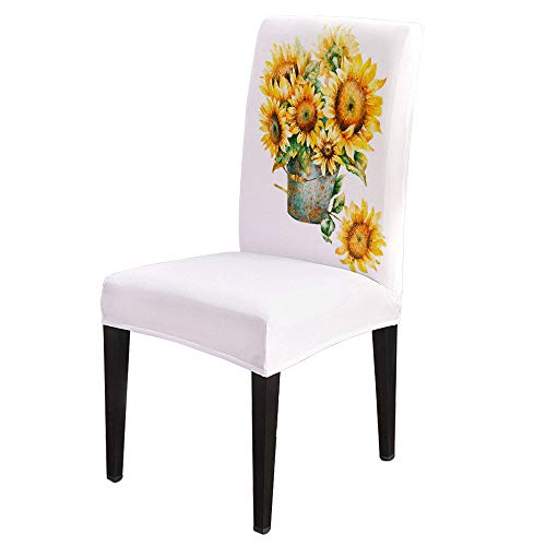 8 PCS Dining Chair Slipcovers Stretch Removable Dining Room Chair Protector Seat Cover for Home Decor, Watercolor Sunflower Barrel