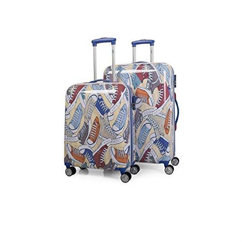 LOIS - 55700 Juego Set 2 Maletas trolley 50/60 cm PC Policarbonato estampado. Rígida y ligera. Mango telescópico, 2 asas 4 ruedas dobles. Vuelos low cost Ryanair, Color Azul