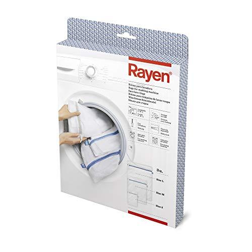 Rayen Lavadora y Secadora lavandería con Cremallera | Bolsa Protectora Reutilizable para el Lavado de Ropa | Tres Medidas Diferentes, Blanco, 70 X 50 Cm