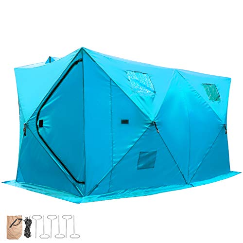 Happybuy Ice Fishing Tent Waterproof Pop-up 2/3/4/8 Person Carrying Bag Ice Shelter Fishing Tent with Detachable Ventilation Windows Oxford Fabric Zippered Door (Blue, 148x148x168CM)