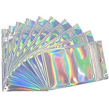 Dor/é,7x10cm Sac Pochette Mylar Anti-Odeur pour Conservation Alimentaire Rimiko 50 Pcs Sachet Aluminium Refermable Zip avec Fen/êtres Transparente Sachet Alimentaire Zip Plat avec Couleur