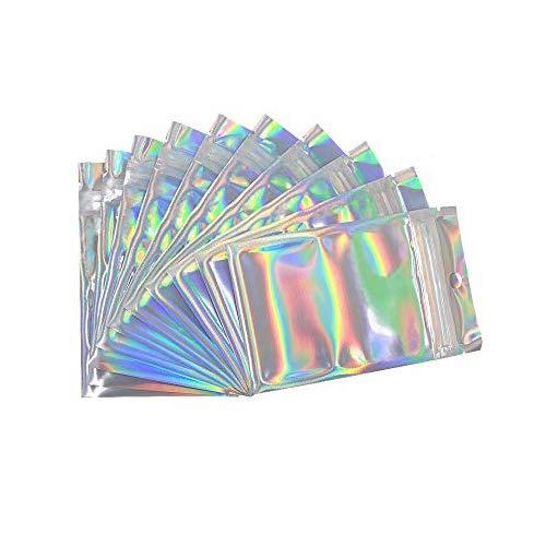 N/ A 200 Stücke Wiederverschließbare Geruchssichere Taschen Folien Beutel Tasche Flache Tasche für Party Favor Lebensmittel Lagerung, Holographische Farbe (7,5 x 12 cm)