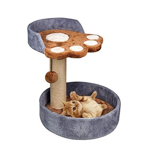 XJD Gato Árbol Rascador de Sisal Natural, Gato Torre Escalera Poste Escalador para Dormir y Jugar (Gris, A)