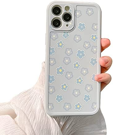 Ownest Compatible with iPhone 11 Pro Max Case for Cute Daisy Flowers Pattern Sweet Line 3D Floral Girls Woman and Soft TPU Protective Slim Shockproof Case for iPhone 11 Pro Max-Blue