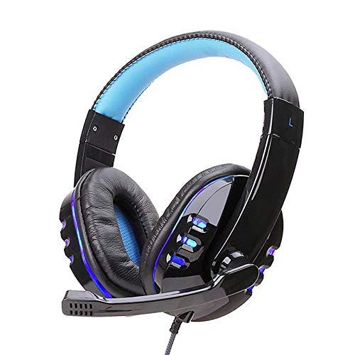 SFBBBO Headset Stereo-Headset Handy-Musik Kabelgebundene Kopfhörer Spiel-Headset über dem Ohr mit Mikrofon-Sprachsteuerung für Laptop-Computer Gamer BlueLED