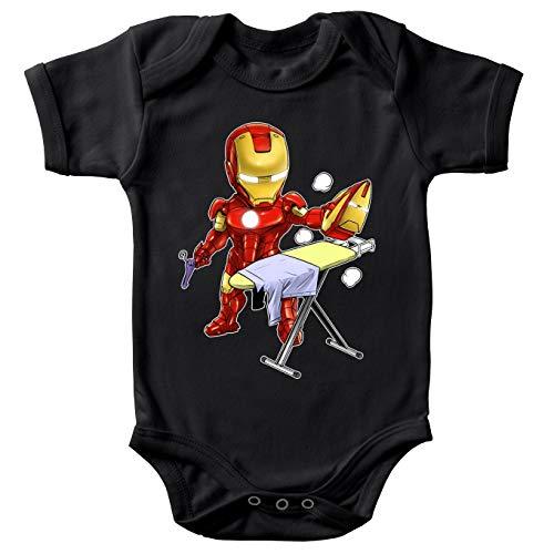 Okiwoki Body bébé Manches Courtes Noir Parodie Iron Man - Tony Stark - Le Super Héros du Quotidien !! (Body bébé de qualité supérieure de Taille 18 Mois - imprimé en France)