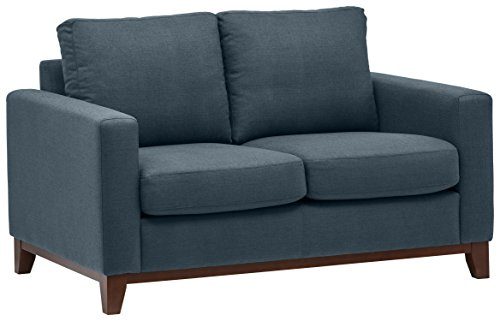 Amazon Marke - Rivet North Moderner Loveseat mit freiliegendem Holzgestell, B 150 cm, Denim