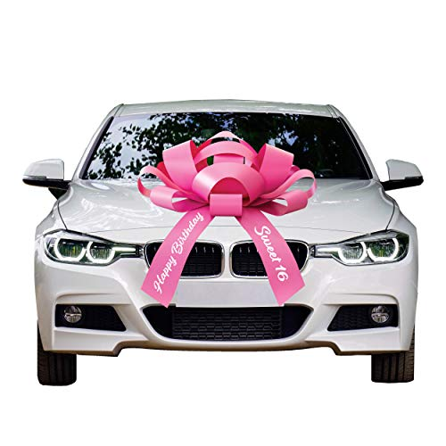 CarBowz Big Car Bow, Sweet 16 Happy Birthday, Giant 30' Bow, Non Scratch Magnet, Weather Resistant Vinyl (Pink)