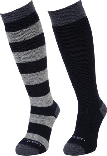 Lorpen Lot de 2 paires de chaussettes de ski en laine mérinos pour enfant moyen bleu marine/gris