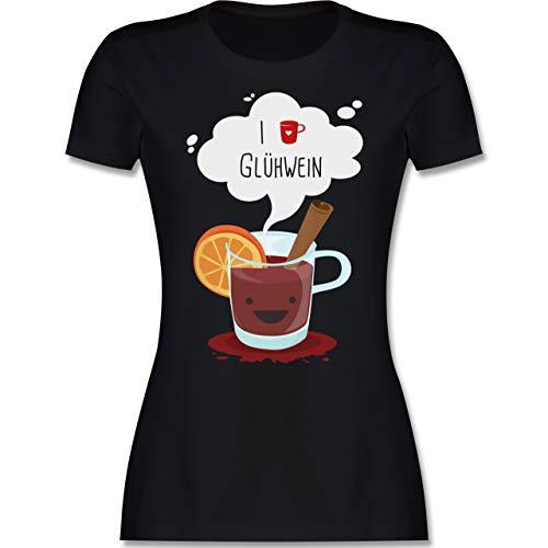 Weihnachten & Silvester - I Love Glühwein glückliche Tasse - L - Schwarz - l191_Shirt_Damen - L191 - Tailliertes Tshirt für Damen und Frauen T-Shirt