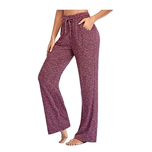 Juzicheng Yoga Pants, Casual Pants Wide Leg Pants, Women's Trousers, Summer Women's Pants (Red Wine, Medium)