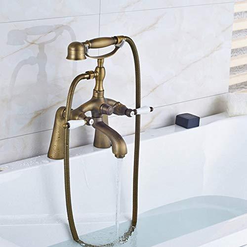 Grifo mezclador de bañera con patas de garra de baño montado en la cubierta con manijas de cerámica dobles de latón antiguo retro con ducha de mano