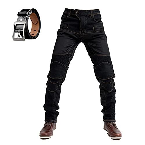 Pantalones de mezclilla de motocicleta para hombre, pantalones vaqueros de motocicleta, con elástico y forro protector de aramida y cinturón (negro, L)
