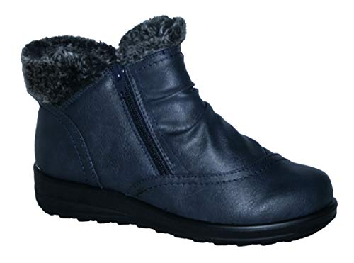 Cushion Walk Winter Warm Lined Ankle Boots Womens Padded UK 4-8 (7 UK, Gemma Navy)
