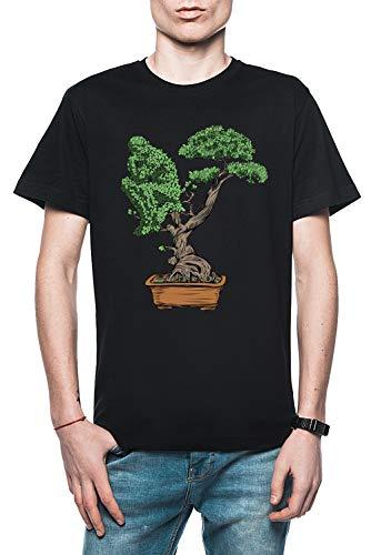 Rundi Bonsai Pensando Hombre Camiseta Negro Tamaño XL - Men