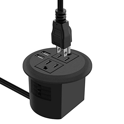 Desktop Power Grommet with USB,Recessed Power Socket with 2 AC Outlets and 2 USB Charging Ports. Desk Grommet Outlet 3in Hole,for Kitchen Table/Conference Room Outlet (Tools & Home Improvement)