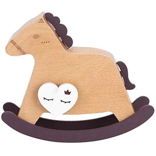 Rocking Horse Shape Music Box, Fine Workmanship Good Oxidation Resistance Wooden Music Box, Selected Natural Beech Wood, for Gift Home Cildren Bedroom(D)