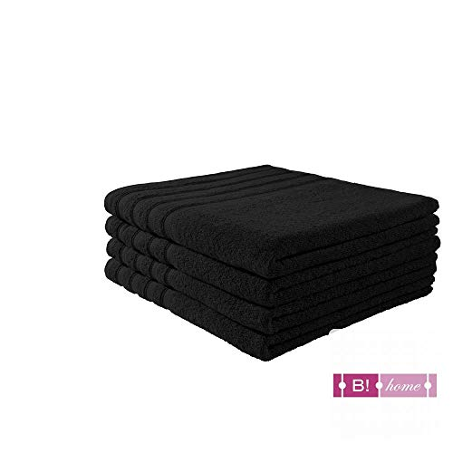 B!HOME 4er Set Duschtücher schwarz 70x140 Frottier Baumwolle