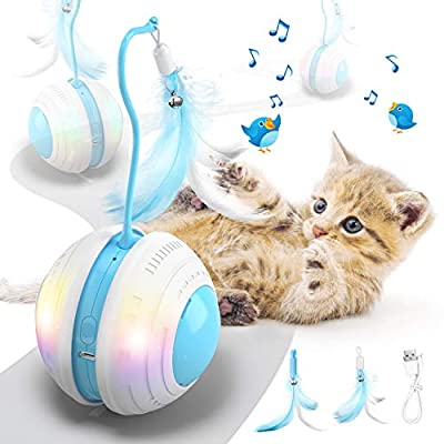 Jionchery Interactive Cat Toys Ball for Indoor Cats Electric Moving Cat Feather Toy Automatic 360° Self-Rotating & USB Rechargeable with LED Color Light Toy for Kitten