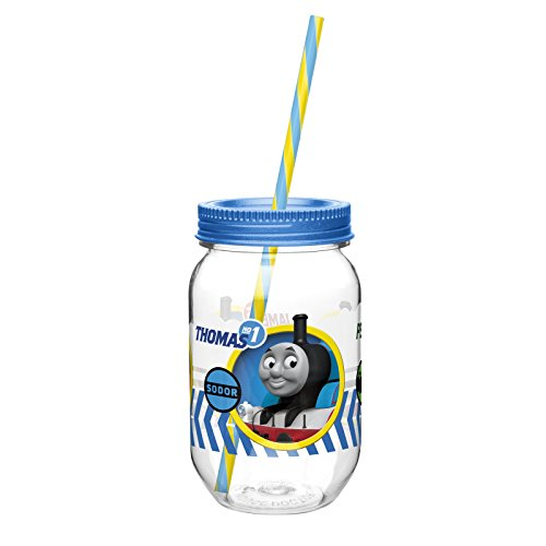 Mason Jar Tumbler with Screw-on Lid and Straw featuring Thomas & Friends Graphics, Break-resistant and BPA-free Plastic, 19 oz.
