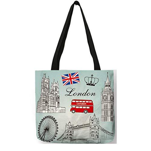 Londres Paisaje Famoso de la impresión del Modelo de Lino Casual Plegable del Bolso de totalizadores 019