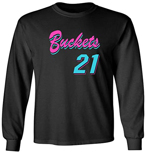 Shedd Shirts Long Sleeve Black Miami Jimmy Buckets VICE City T-Shirt Adult