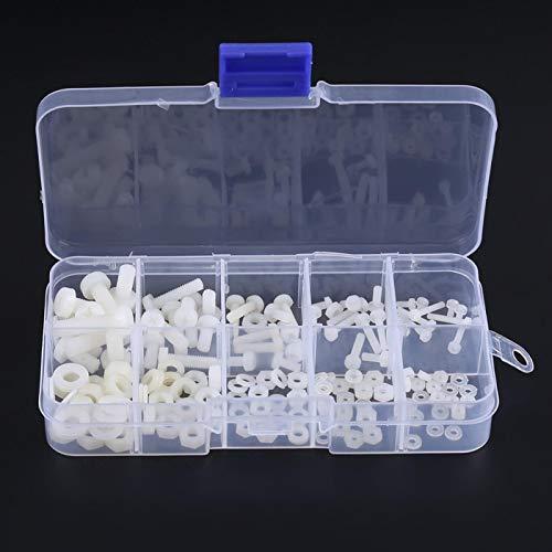 150 pcs Kit de Surtido Tornillo Tuerca Arandela en Caja, Kit de Fijación de Tornillo de Nylon de M2 M2.5 M3 M4 M5