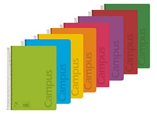 Campus 002426 Pack de 8 Cuadernos A4 Espiral Tapa Plástico