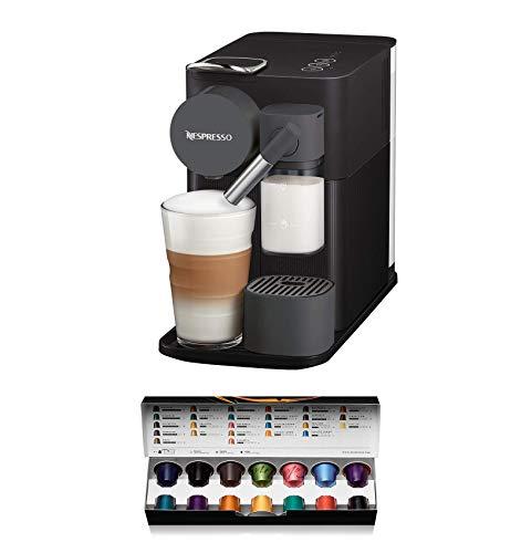 Nespresso De'Longhi Lattissima One EN500B - Cafetera monodosis de cápsulas con depósito de leche compacto, 19 bares, apagado automático, color negro, Incluye pack de bienvenida con 14 cápsulas