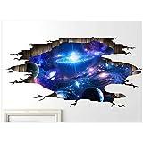 Sadg4hfgbh Blauer kosmischer Aufkleber der Wand 3D, knackender Effektplanetenwelt-Weltraumboden-Deckenwandaufkleber -