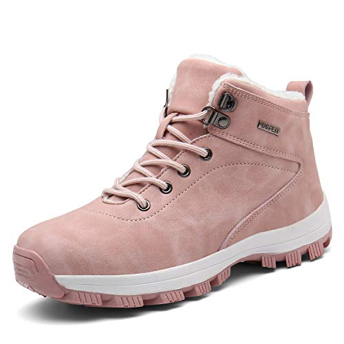 UBFEN Damen Schneestiefel Warm Gefütterte Winterschuhe Winterstiefel Stiefeletten Winter Sports Outdoor Trekking Wander Stiefel Schuhe High Top Sneaker 41 EU Pink