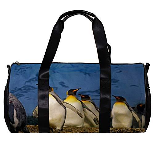 Borsone da palestra rotondo con tracolla staccabile pinguino allenamento borsa per la notte per donne e uomini