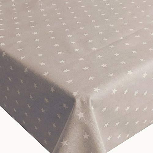 DecoHomeTextil NL Meterware Tischdecke Stoff Stofftischdecke Sterne Taupe Breite & Größe wählbar 140 x 220 cm Eckig wasserabweisend abwaschbar mit Teflonbeschichtung