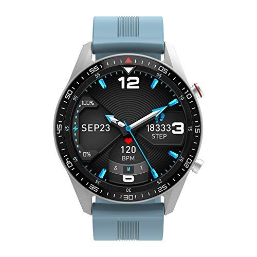 """moreFit Smartwatch Rund 1.3\"""" Voller Touchscreen Sportuhren für Damen Herren Fitnessuhr Wasserdicht Armbanduhr mit Pulsmesser Blutdruck Stoppuhr SMS-Erinnerung mit 23 Sportmodi für Android iOS (Blau)"""