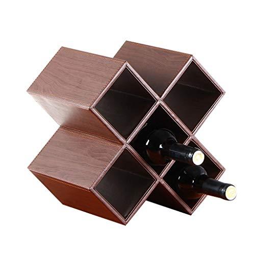 Wine Rack - Weinregal Kreative Raute Weinflasche Lagerung Display Regal Home Bar Holz Dekor -0507 (Farbe : Braun)