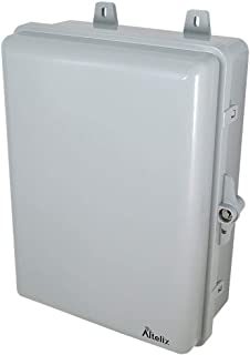 Altelix 12x9x5 Polycarbonate ABS Weatherproof Utility Box Plastic Outdoor NEMA Enclosure with Locking Door, Cable Glands, Wire Management & Wall Mount Hardware. Interior approx. 11.3 x 8.1 x 3.9 In.