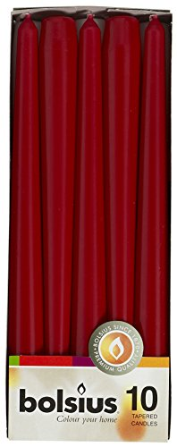 Bolsius Tapered Dinner Candles, 'Dark Red Box', Pack of 10