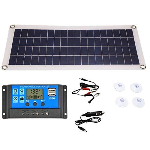 Menky Pannello solare da 20 W, doppia uscita USB, celle solari da 30 A, per batteria da 12 V/24 V