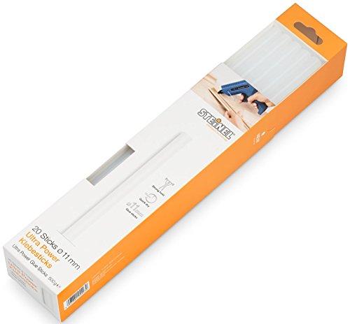 Steinel 110031401 Stick di colla ULTRA Power con diametro di 11 mm, cartucce di colla a caldo lunghe 250 mm, collante universale per diversi materiali, confezione da 500 g, 20 pezzi