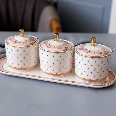 Scandinava Salt Shaker Zucchero Ciotola per Spezia Contenitore di stoccaggio/Pot di stoccaggio Pentola in ceramica Stadimento POT Home Cucina Strumento di condimento Spice Jar. (Colore : 3pcs D)