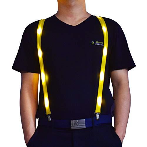 ANYTINUS Herren Strapshemd - Verstellbarer elastischer Y-Rücken, starker Clip, LED Strapshalter - Gelb - Medium