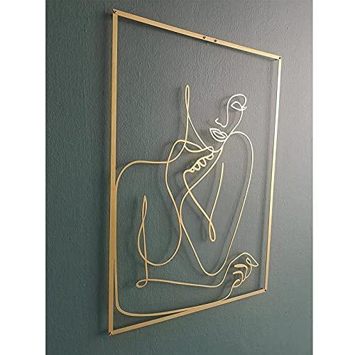GHMPNLG Gold Weibliche Wand Dekor Set Linie Kunst Moderne Abstrakt Weibliche Sexy Körper Einzigartige Wandkunst Wanddekoration Malerei Feminine Linie Kunst Acryl Für...