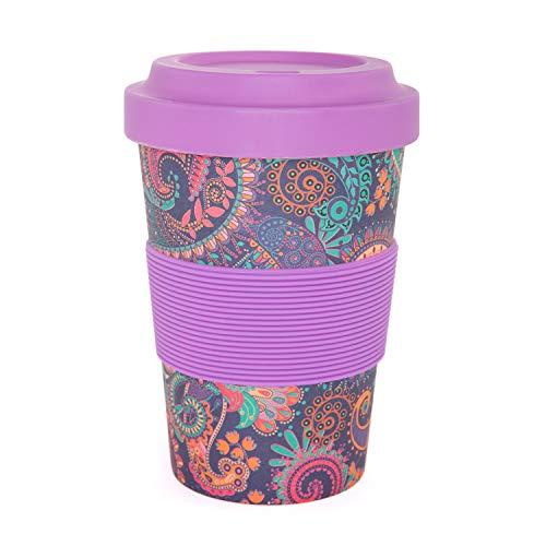 YogiCup2Go, Bambus Coffee-to-go-Becher, berry, Bamboo-Cup als Mehrweg-Tasse für unterwegs, mit Silikon-Manschette und Schraubdeckel, 475 ml Fassungsvermögen