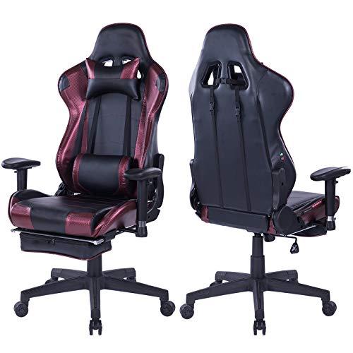 Kasorix Computerstuhl Bürostuhl Chefsessel Leder hat Lordosenstütze mit Fußstütze,Bürostuhl mit hoher Rückenlehne,schreibtischstuhl mit Breiter sitzfläche,Chefsessel bis zu 200 Kgs (Weinrot-8204)