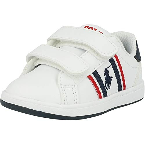Polo Ralph Lauren Oaklynn EZ Blanco/Azul (White/Navy) Smooth Infantil Zapatillas De Deporte Zapatos