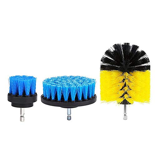 LTGABA Electric Drill Brush Tile Grout Power Washing Tower Bucket Cleaning Brush Red Blue Yellow 3Pcs 2/3.5/4 Inches (Color : Blue)