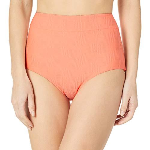 Seafolly Women's High Waisted Pant Bikini Bottom Swimsuit, Capri Sea Fluorescent Melon, 10 US