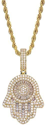 NC110 Vintage Fátima Colgante Hip-Hop Microincrustaciones Circón Chapado en Oro Real 60Cm Collar Personalizado de Cadena Larga Adecuado para Hombres Mujeres Oro