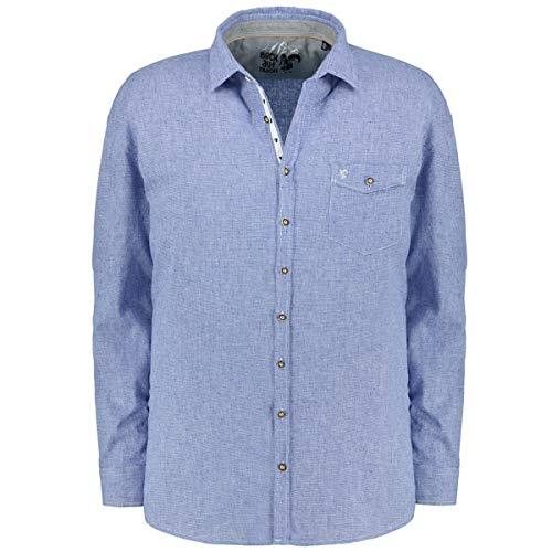 Jupiter Hemd Übergrößen Herren Modisches Trachtenhemd mit Mustermix, Langarm blau/weiß_159/4020 7XL
